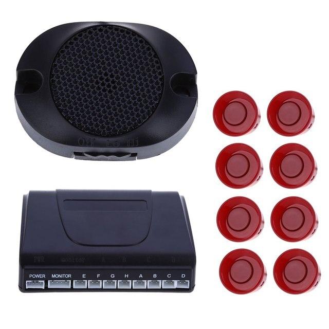 Car Parking Park Radar Buzzer Alarm Auto Reverse Rear Assistance Backup 8 Sensors Kit Monitor System English Voice Notification
