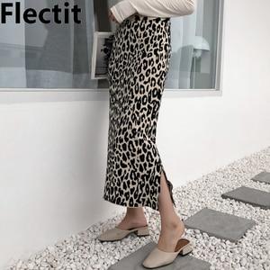 Image 1 - Flectit 2019 In Hình Động Vật Váy Midi Nữ Cao Cấp Bên Chia Mềm Mại Len Pha Da Báo Bodycon Dệt Kim Váy Midi
