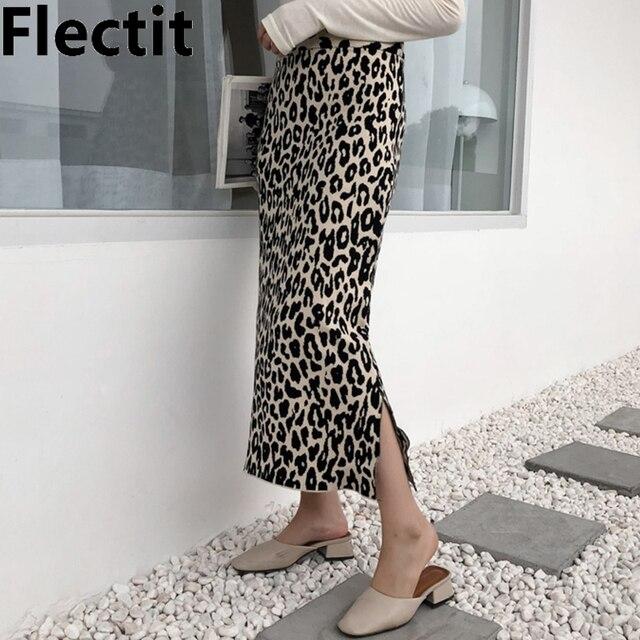 Flectit 2019 In Hình Động Vật Váy Midi Nữ Cao Cấp Bên Chia Mềm Mại Len Pha Da Báo Bodycon Dệt Kim Váy Midi
