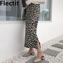 Flectit las mujeres leopardo Falda de punto de Midi cintura alta lateral Otoño e Invierno lana suave mezcla falda animal print