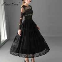 MoaaYina Fashion High Quality Sexy Dress Spring Women Long Sleeve Mesh Lace Holiday Party Elegant Ball