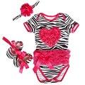 Baby girl roupas de verão Zebra Algodão Rosa vermelha amor manga Curta Bodysuits/Jumpsuit + sapatos + Cabeça Do Bebê Da Criança conjunto de roupas