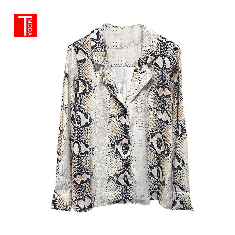 2018 Autumn Women Vintage Snake Skin Print Blouse Long Sleeve Animal Pattern Basic Shirt Ladies Casual Chic Tops Blusas Mujer