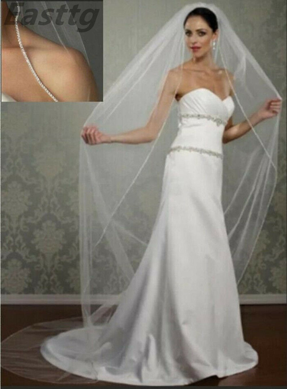 Champagne White Ivory Wedding Accessory 3M Cathedral Crystal Edge Wedding Veil Custom Made Length 1 Tier Bridal Veil With Comb