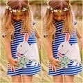 НОВЫЕ Красивые Дети Новорожденных Девочек Одеваться Милый Зайчик Синий Белый Полосатый Мультфильм Моды Платье