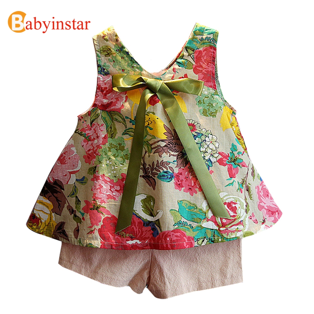 Babyinstar 2017 New Summer Girls Clothing Set Floral Pattern Sleeveless Top with Bow + Pink Shorts 2pcs Fashion Children's Sets