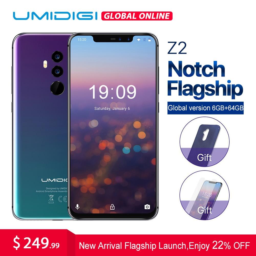 UMIDIGI Z2 6.2 Notch Completo Tela do smartphone Android 8.1 gb RAM gb ROM Helio 64 6 P23 Núcleo octa 16MP Quad Câmera 4g LTE Telefones Celulares