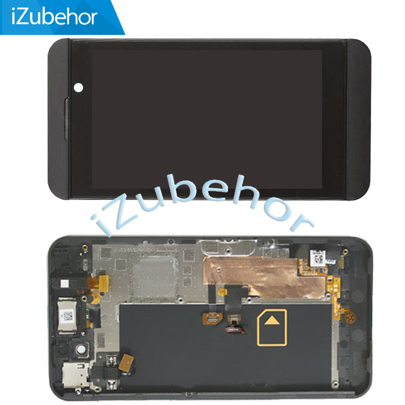100% Warranty LCD Display With Touch Screen Digitizer  + Frame Assembly For BlackBerry Z10 4G Version By Free Shipping