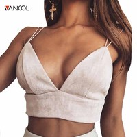 Vancol 2017 Summer Tank Top Strap Sleeveless Deep V Neck Sexy Suede Bustier Pink Crop Top