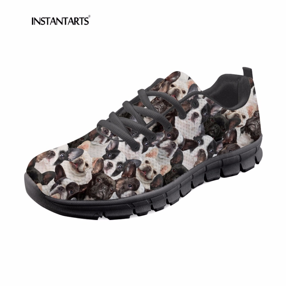 INSTANTARTS Bull Terrier Flats Women Fashion Casual Sneakers Shoes 3D Cute Dog Pattern Student Teen Girl Mesh Lace Up Flat Shoes instantarts pink sneakers women casual flats cute cartoon pediatrics bear doctor nurse pattern lady air mesh laces up flat shoes