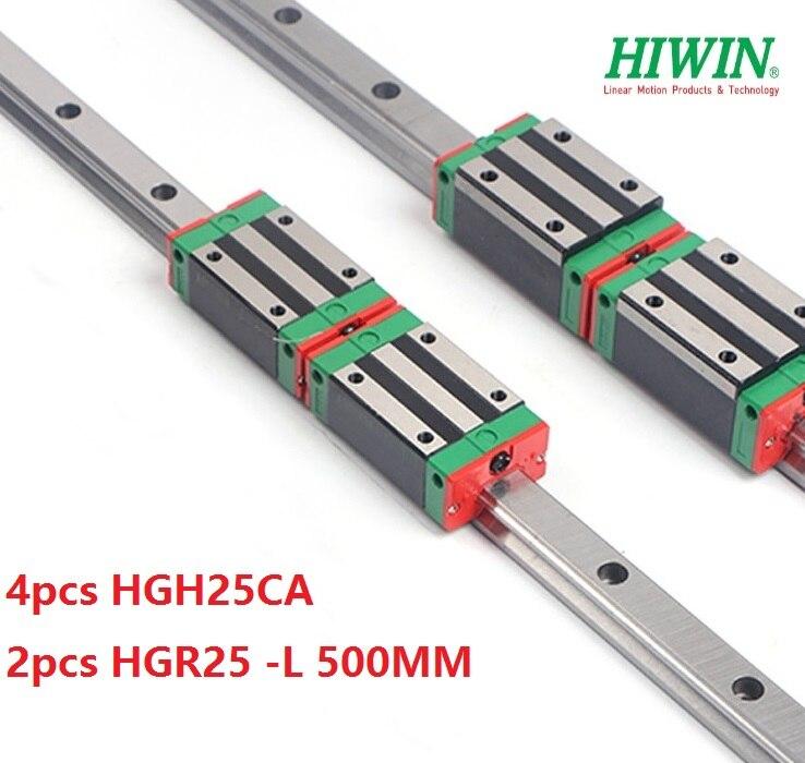 Ev Dekorasyonu'ten Doğrusal Kılavuzlar'de 2 adet Hiwin lineer kılavuz rayı HGR25 L 500 MM + 4 adet HGH25CA lineer dar blokları cnc yönlendirici title=