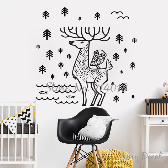Forest Wall Decal Nordic Woodland Deer And Owl Wall Sticker Modern Home  Decals Decor Vinyl Art