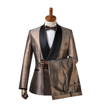 Gwenhwyfar Jacket Pants Design Gold Costume Homme Slim Fit Shawl Lapel Double Breasted Suit Groom Wear Men Wedding Suits Tuxedo(China)