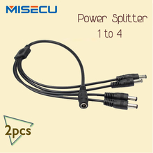 2pcs/lot DC power Splitter 4 way Power Splitter Cable 1 male to 2 Dual Female cord for CCTV Camera 5.5mm / 2.1mm
