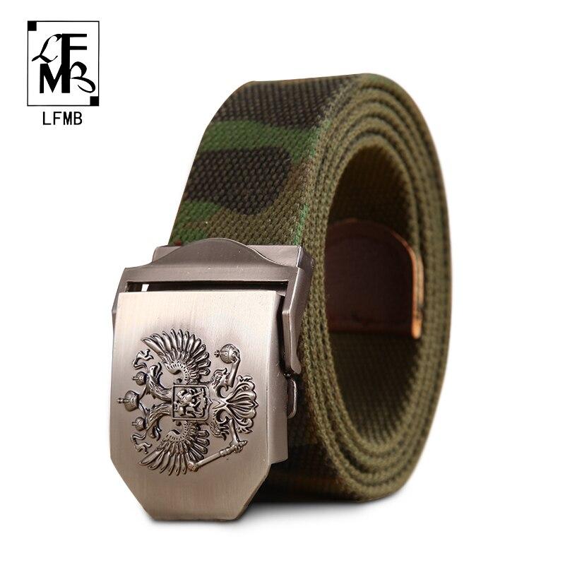 Lfmb  Real ruso moda marca hombres cinturones para hombres cinturón de  lona táctico hebilla metal de cinturón de hombres correa ocasional 737c6d941db7