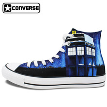 Women Men Hand Painted Shoes Design Galaxy Police Box Converse Chuck Taylor Canvas Sneakers High Top Gifts Presents