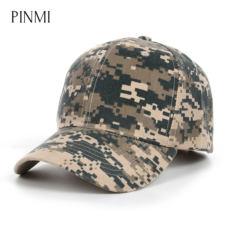 PINMI Camouflage Baseball Cap Men Classic Snapback Caps Outdoor Dad Hat Climbing Hunting Army Hats Cotton Casual Trucker Hats jungle new outdoor men s recreational fishing hunting baseball cap bionic camouflage
