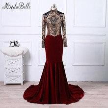 modabelle African Velvet Mermaid Evening Dress For Muslim 2018 Arabic Vestidos Formales Gold Burgundy Prom Black Girl