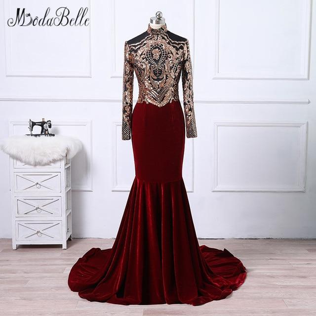Modabelle African Velvet Mermaid Evening Dress For Muslim 2018 Arabic Vestidos Formales Gold Burgundy Prom Dress