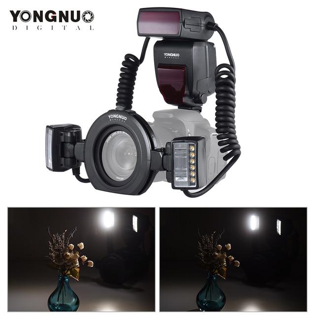 Yongnuo Flash Macro Speedlite YN24EX E TTL para cámaras Canon EOS 1Dx 5D3 6D 7D 70D 80D con 2 uds. De cabezal de Flash + 4 Uds.