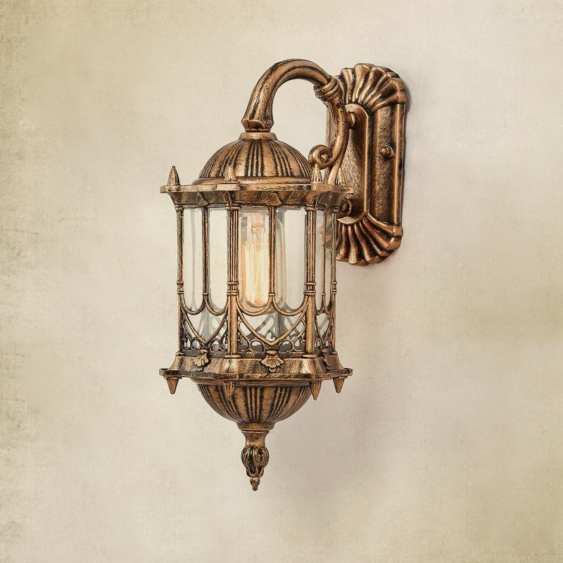 Vintage Brass Wall Lamps : Courtyard 1 pcs Auminum Waterproof Outdoor Wall Lamp Led Retro Antique glass wall sconce ...