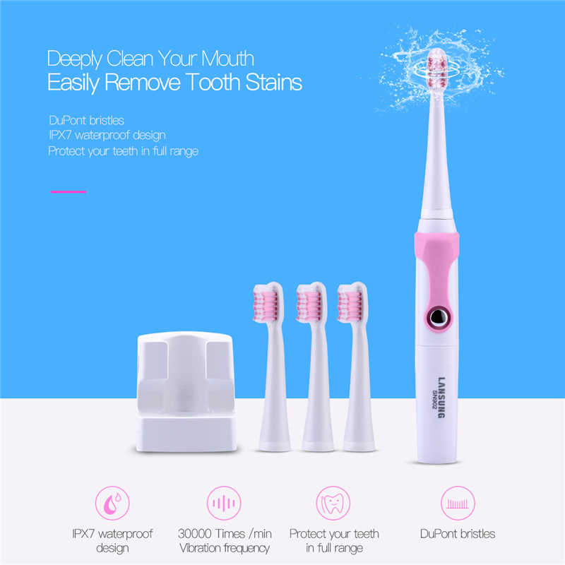 LANSUNG Wireless Inductive Rechargeable Toothbrush Sonic Electric Tooth brush Teeth whitening 4 Brush Heads Children Adult S3435 lansung wireless rechargeable electric toothbrush 3 brush heads ultrasonic sonic teeth whitening tooth brush 3 modes timer brush