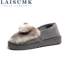 LAISUMK Suede Fur Loafers Women Large Size Boat Shoes Ladies Slip On Platform Cute Flat For 2019 Spring Autumn