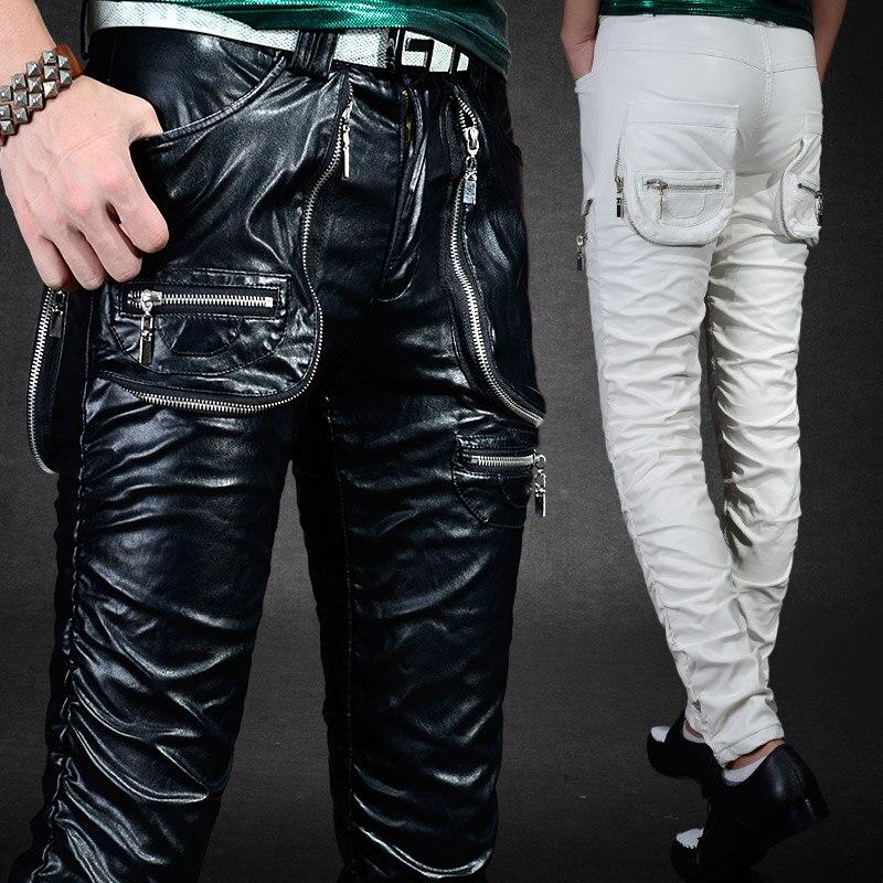 rosado Black Los Pantalones Locomotora Trajes blanco Europa Hombres Cantante Oscuro Nuevo Club De 2019 Con Cuero rojo Pu Punk Slim Ropa oro plata Lavado azul Estilo R8xqwUtf