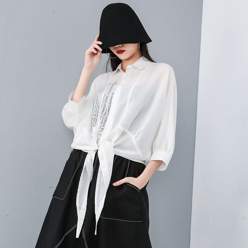 Irregular Summer Sun proof Women Blouses Streetwear Batwing Sleeve Loose Oversize Print Beach Shirt Rayon+Linen Sun Protection