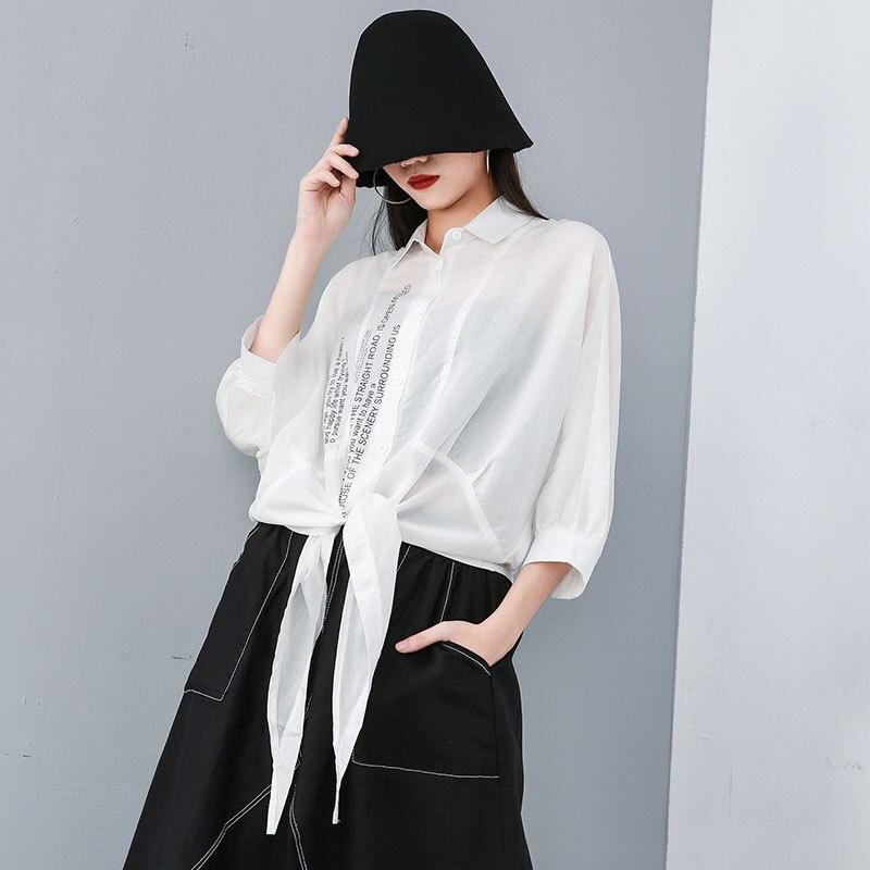Irregular Summer Sun proof Women Blouses Streetwear Batwing Sleeve Loose Oversize Print Beach Shirt Rayon+Linen Sun Protection