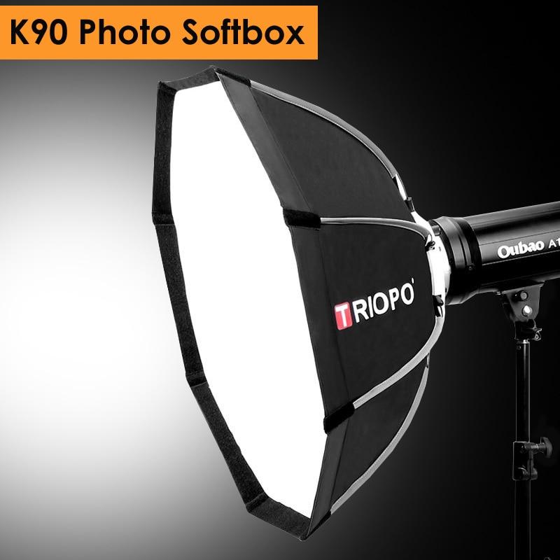 Triopo 90 см фото Портативный Открытый Bowens крепление восьмиугольный зонтик мягкая коробка с сумкой для переноски для студийной видеосъемки фот...