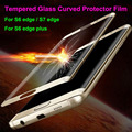 3D 9H Curved Tempered Glass Full Screen Protector Film For Samsung S6 edge S6 edge plus S7 edge With Wooden Box Free shipping