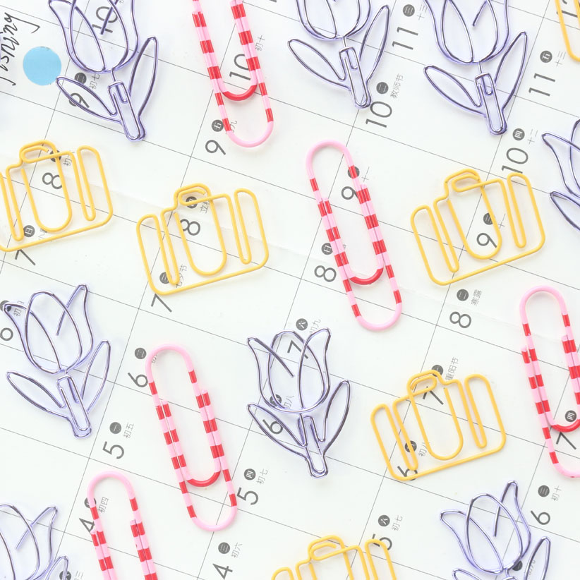 Domikee Kawaii Watercolor Colored Office School Index Organizer Paper Clips Bookmark Cute Student Paper Memo Clips Stationery