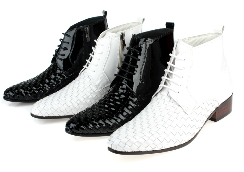Woven Design black / white ankle boots mens wedding boots genuine leather mens winter boots mens motorcycle boots outdoor shoes cool mens ankle boots with rivets casual motorcycle boots mens genuine leather shoes mens winter shoes black business boots