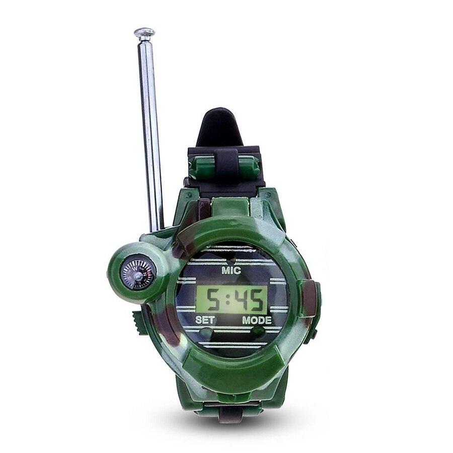 HOT SALE 1 Pair LCD Radio 150M Watches Walkie Talkie 7 in 1 Children Watch Radio Outdoor Interphone Toy (Color: Green)