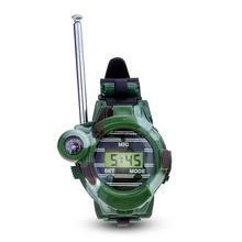 HOT SALE 1 Pair LCD Radio 150M Watches Walkie Talkie 7 in 1 Children Watch Radio Outdoor Interphone Toy (Color: Green)