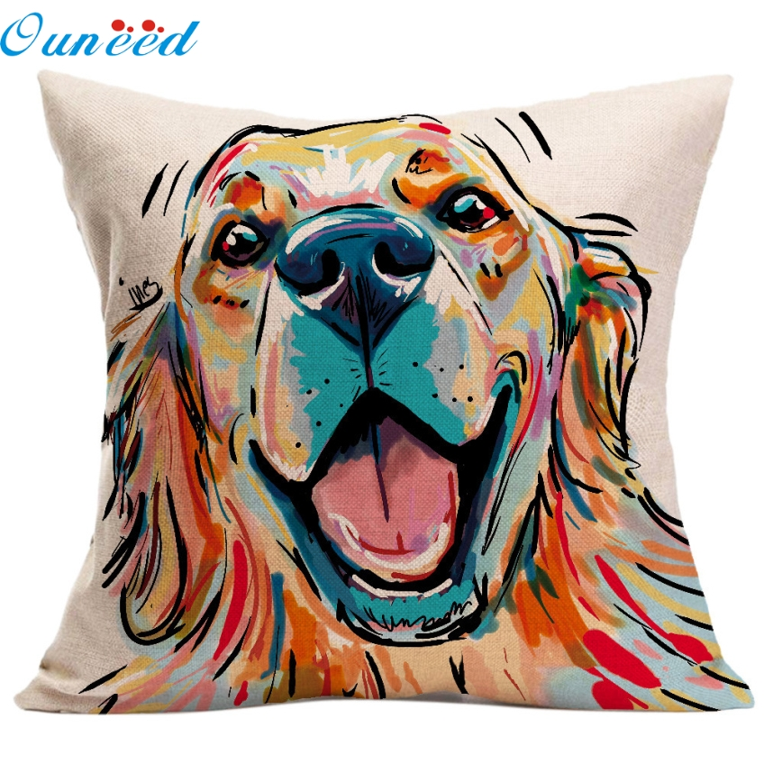 Ouneed Watercolour Style 45 x 45cm Vintage Cute Dog Pillow Case Sofa Waist Throw Cushion Cover Home Decor Gifts