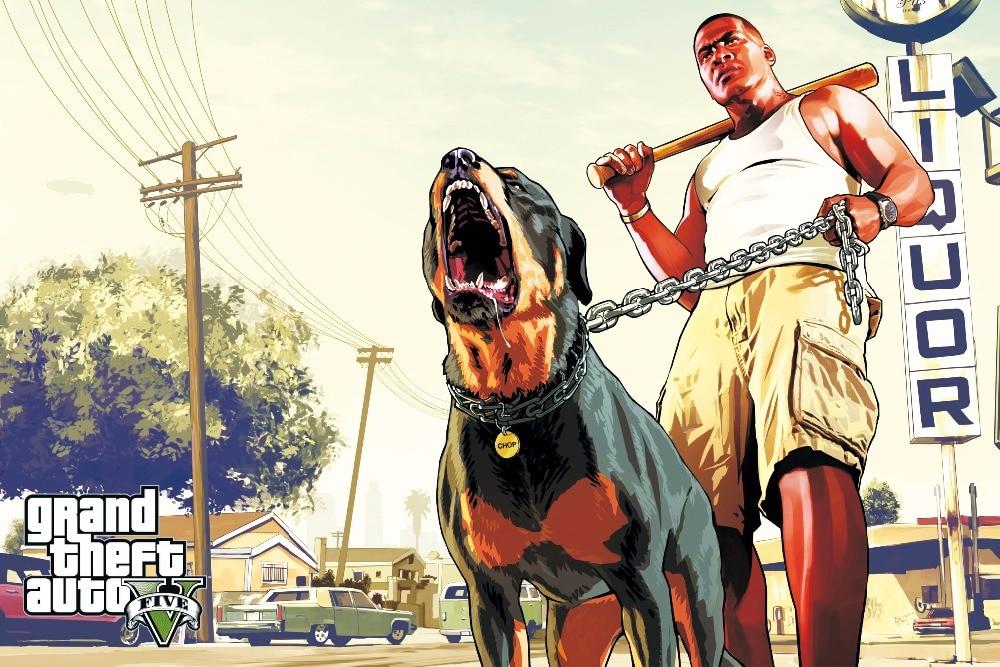 Grand Theft Auto V Art Soie Imprimer Tissu Affiche Jeu Chaude GTA 5 Images Pour Décoration Murale