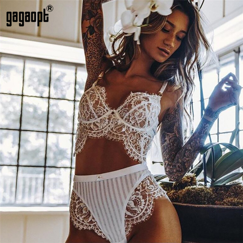 Gagaopt 2018 Sexy Lace Bra Set Ladies Floral Embroidery Elegant Push Up Lingerie Set Women Underwear Set (Bra + Panties)