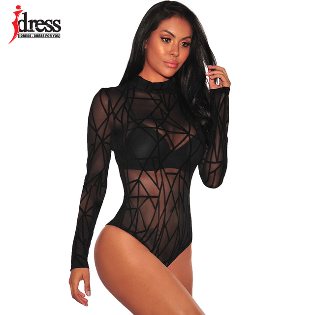 IDress Black Red Blue Ladies Bodysuit Top Woman Long Sleeve Rompers Bodysuit Macacao Body Feminino Lace Romper Women 2017