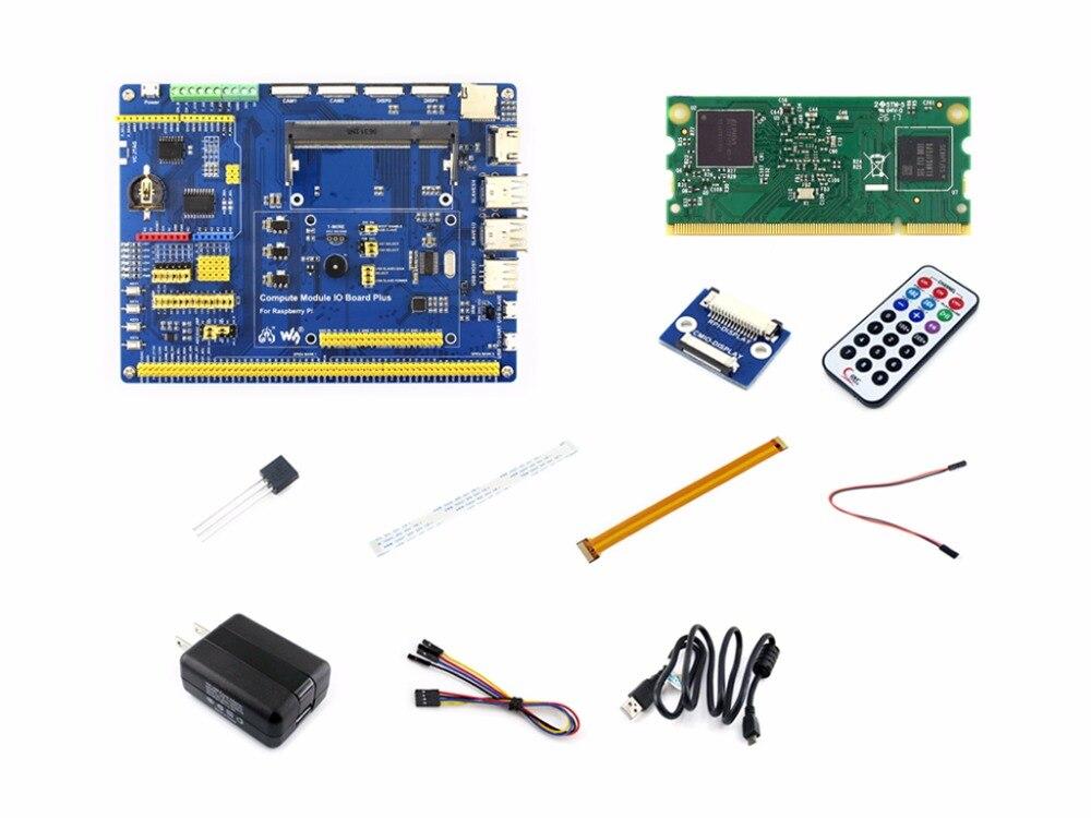 Module de calcul Raspberry Pi 3 Kit de développement Type A avec module de calcul 3, DS18B20, adaptateur d'alimentation, câble de caméra Pi zéro