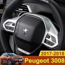 Chrome Stile Auto Volante Paillettes Sticker Copertura Decorazione Assetto 3D Adesivi Per Peugeot 3008 GT 2017 2018 Accessori