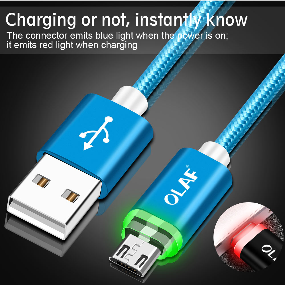 OLAF Micro USB Cable For Samsung S9 S8 Auto Disconnect Fast Charging Data Cable For iPhone X 8 7 6s with LED Light Type C Cable