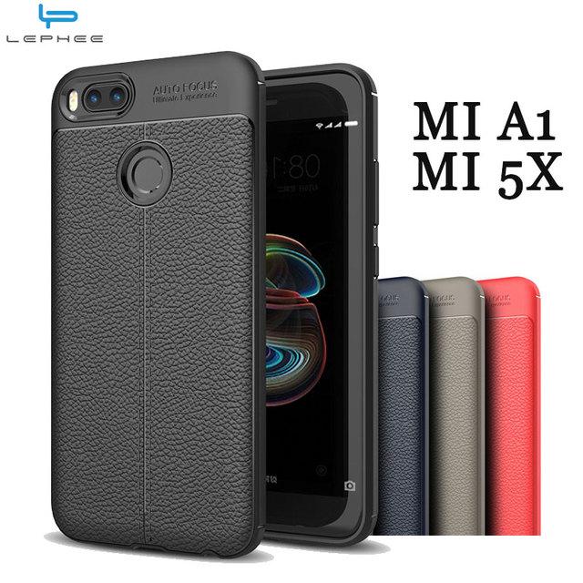 competitive price 8af22 b58de US $4.79  LEPHEE Original Case for XiaoMi Mi A1 MiA1 MI 5X Silicone Cover  Soft TPU Leather Back Cover for Xiaomi Mi A1 5.5