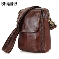 Men small bag genuine leather brand fashion small messenger bag for men trendy shoulder bag for mini iPad/phone wallet cigarette