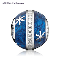 ATHENAIE 925 Sterling Silver Clear CZ Midnight Blue Enamel Wintry Delight Snowflake Charms Beads for Winter Women Bracelet Xmas