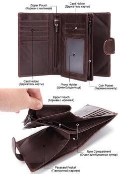 MISFITS Mens Wallets Genuine Leather Passport Holder Wallet Man Vintage Cowhide Passport Cover Brand Male Zipper&Hasp Coin Purse