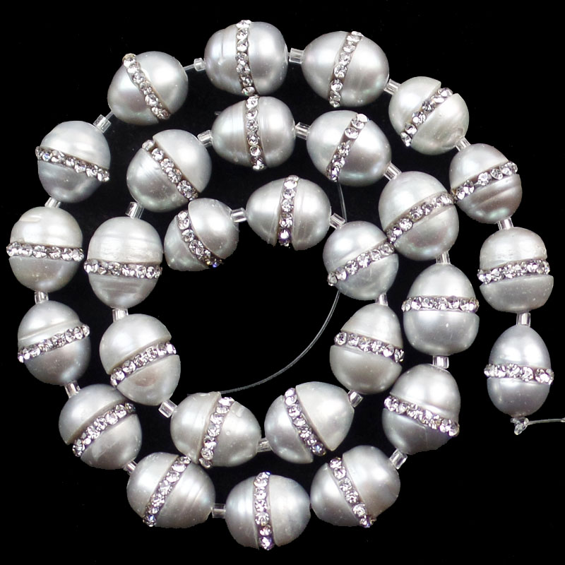 28pcs min.order 10$ Mix 12x11mm Sam_9517 Selected Material Free Shipping Beautiful 1 Strand Grey Pearl & Rhinestone Loose Bead 15.5 Inch
