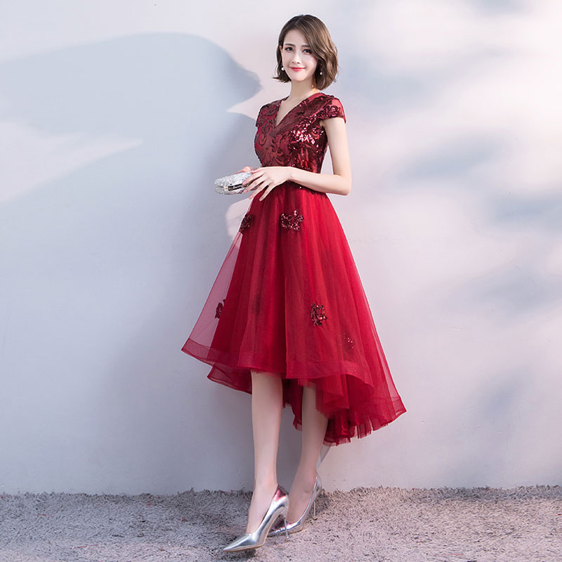 FADISTEE Hot sale short dresses high-low back cocktail party zipper simple style satin sequin Burgundy prom dress style 2