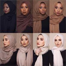 Cena hurtowa 70*180cm kobiety muzułmańskie marszczone hidżab szalik femme musulman miękkie bawełniane chusty hidżab muzułmański szale i okłady tanie tanio Peacesky WOMEN Dla dorosłych Wiskoza COTTON Stałe Moda 175 cm Szaliki MSL090 hijabs scarf shawls wraps hijabs scarves